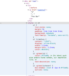 Das Style-Tag in den Developer Tools